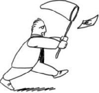Un homme court après un billet de banque avec une épuisette.