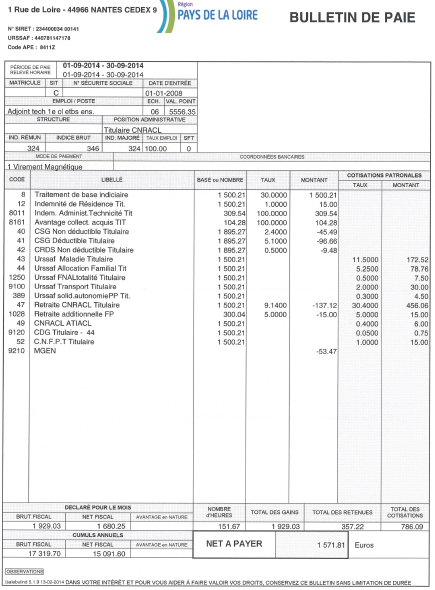 bulletin de salaire fonction publique territoriale